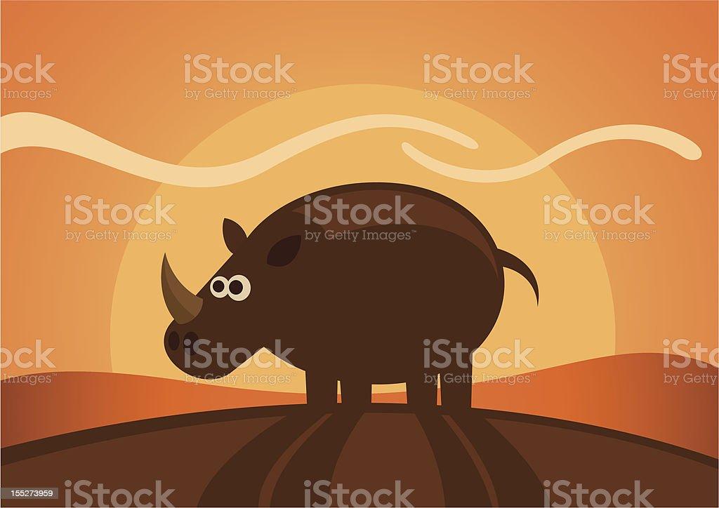 Comic rhinoceros in the wild. royalty-free stock vector art