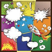 Comic Rocket, multiple speech bubbles and explosion shapes. Software: Adobe Illustrator CC.