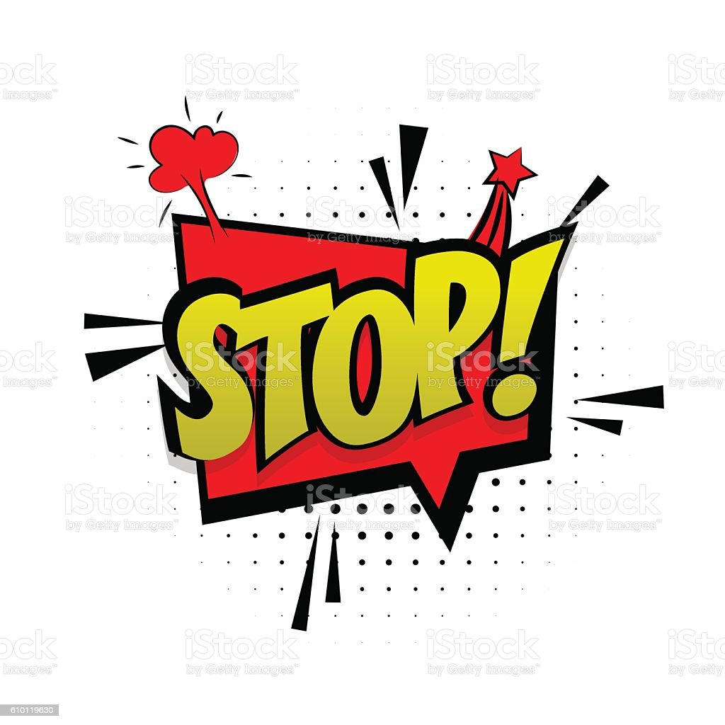 Comic Sound Effects Pop Art Style Red Stop Stock