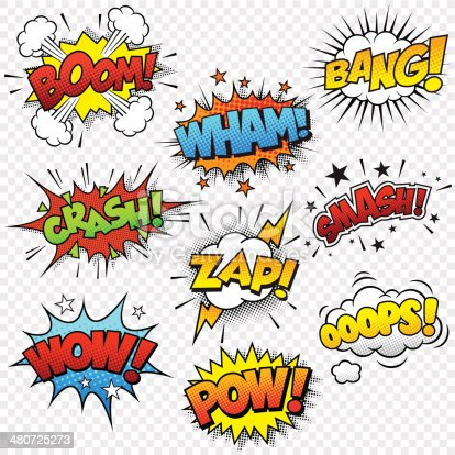 Collection of nine multicolored comic sound Effects. This Graphic set includes 5 different file formats: