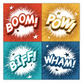 Comic sound effect explosion concepts. EPS 10 file. Transparency effects used on highlight elements.