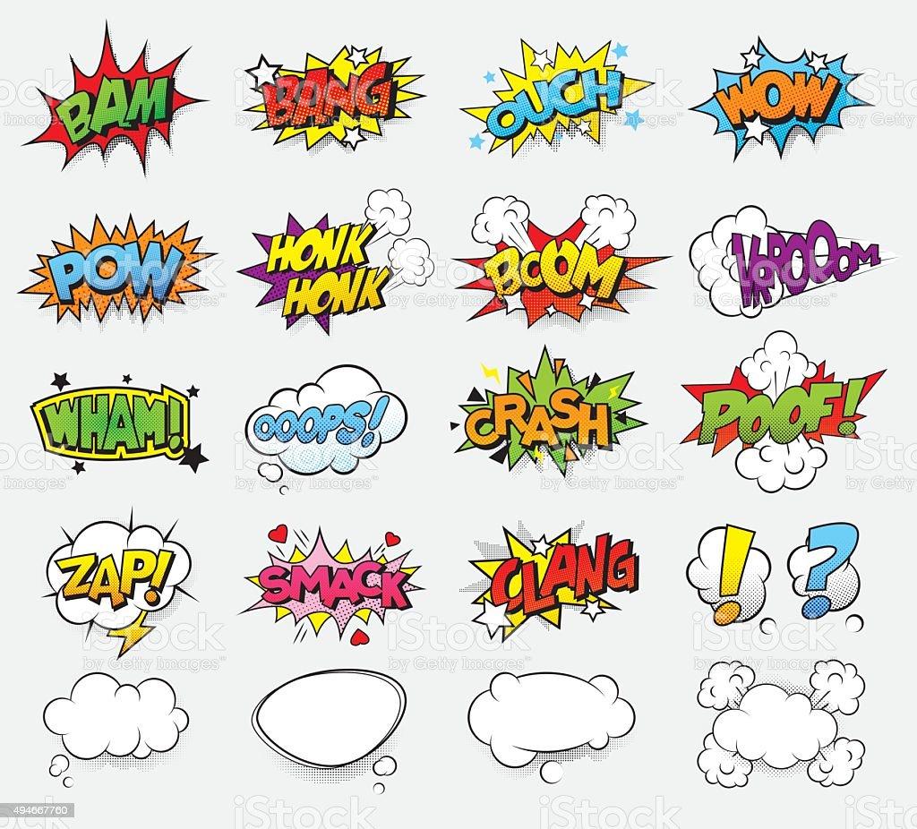 Comic efectos de sonido - ilustración de arte vectorial