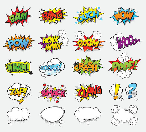 comic sound effects - comic book stock illustrations, clip art, cartoons, & icons