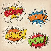 Collection of four multicolored comic sound Effects with a grunged Print Style
