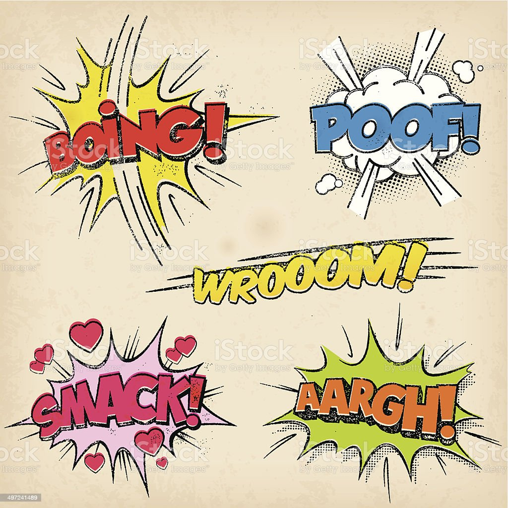 Comic Sound Effects with Grunged Style vector art illustration