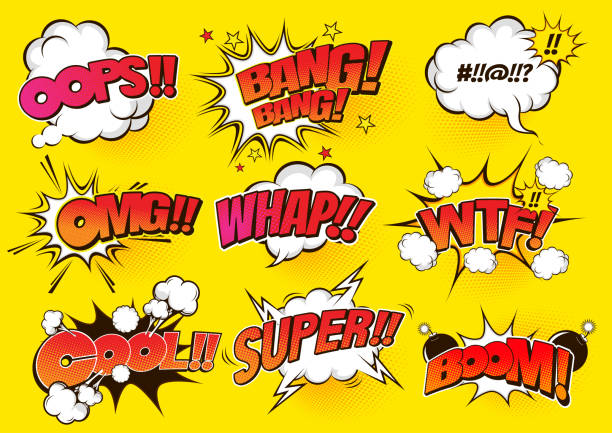 comic speech 58 - sound effects stock illustrations, clip art, cartoons, & icons