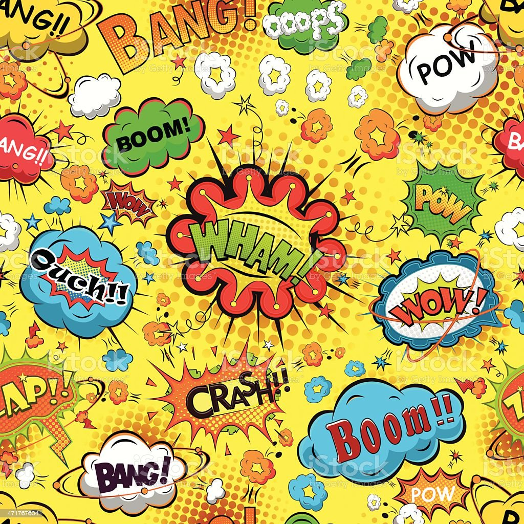 A comic speech bubble background pattern in bright colors vector art illustration