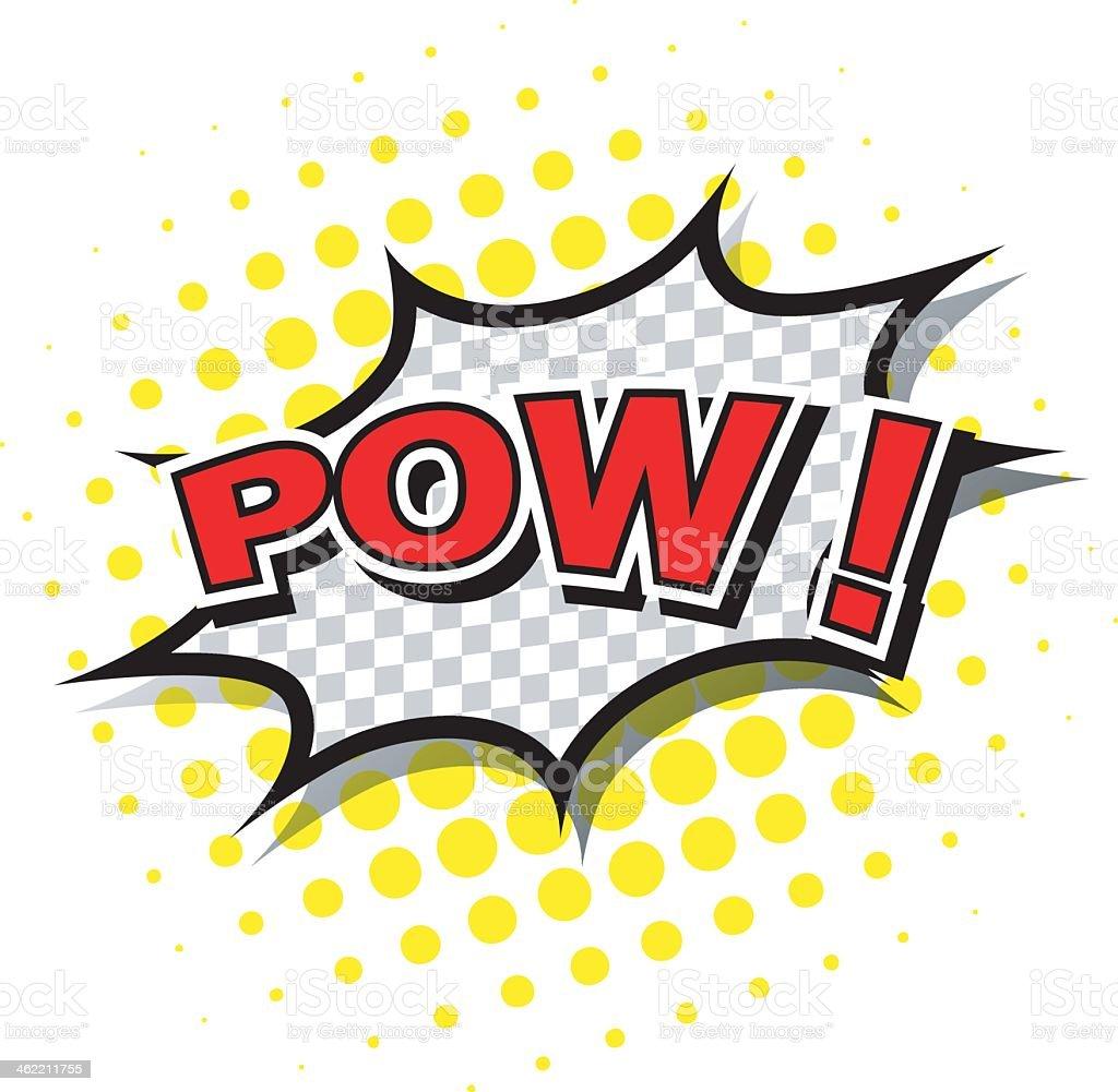 Comic speech bubble of POW! In cartoon vector art illustration