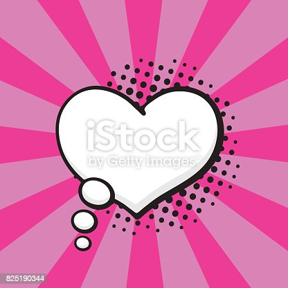 Vector illustration. Comic speech bubble of thoughts heart shape in pop art style. Empty element with contour for your dialogs. Isolated on pink background with rays