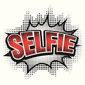 Comic speech bubble, selfie, isolate vector illustration