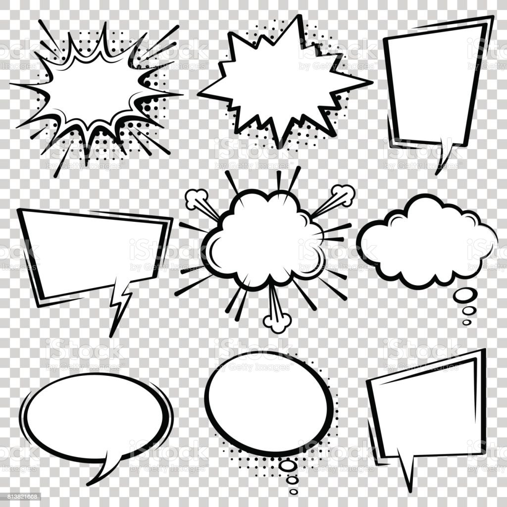 Comic speech bubble set. Black and white speech boxes.