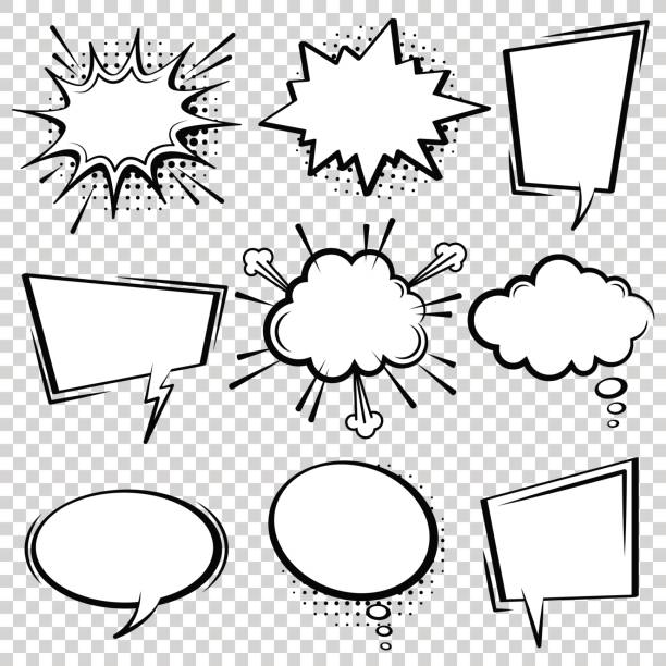 comic speech bubble set. black and white speech boxes. - comic book stock illustrations
