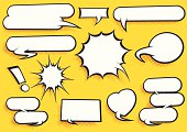 Vector Set of Pop Art Style Comic Speech Bubbles with cool halftone shading. Hi-res Jpeg, PNG and PDF files included.