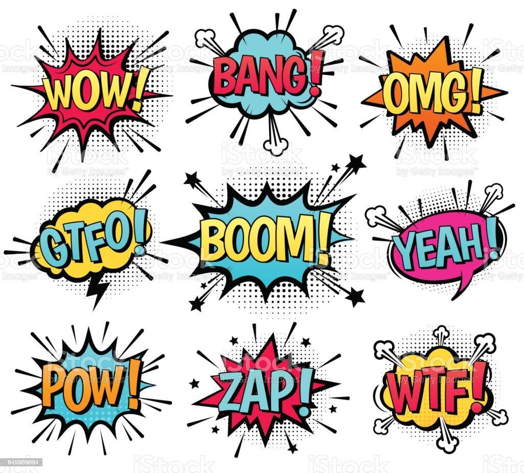 Bulle de dialogue comique et texte. bulle de dialogue comique et texte vecteurs libres de droits et plus d'images vectorielles de art libre de droits