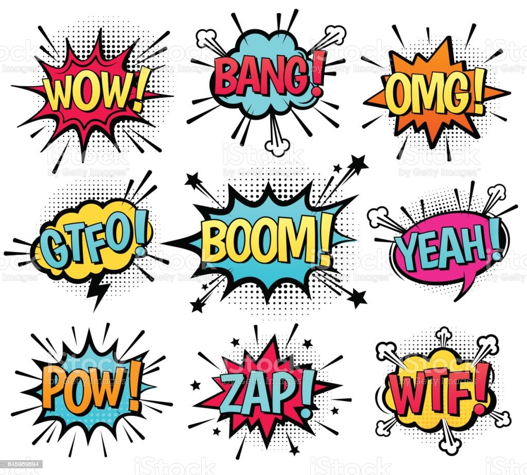 Comic speech bubble set with text. vector art illustration