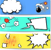 Comic speech bubble  web header set  with Explosion -  banner