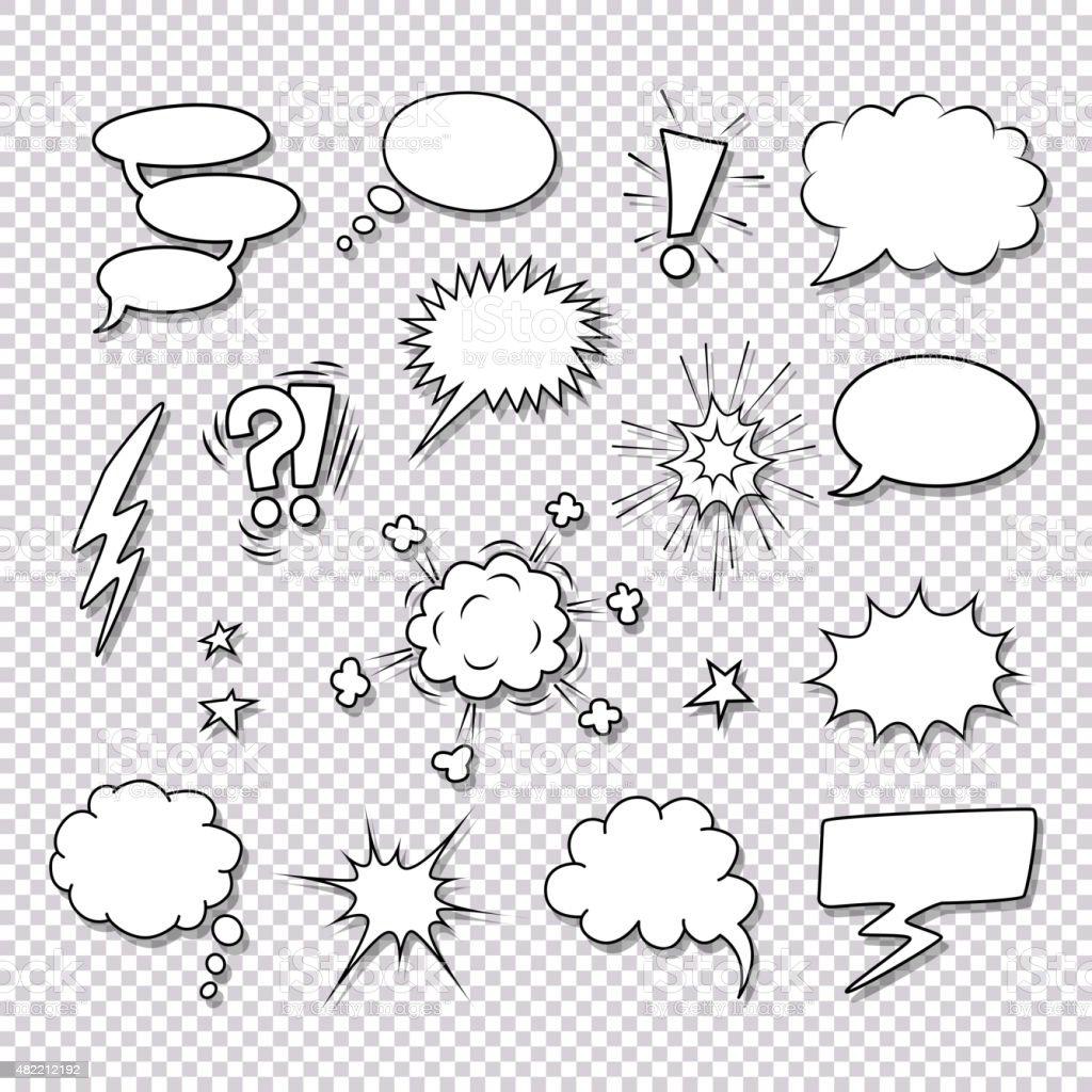 Elementos de quadrinhos discurso bolhas e vetor definido - ilustração de arte em vetor