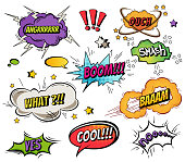 Comic speech bubbles and splashes set with different emotions and text Vector bright dynamic cartoon illustrations isolated on white background.