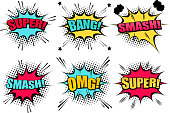 Comic speech bubbles collection with colorful clouds Super Smash Bang OMG wordings star halftone and sound humor effects. Vector illustration