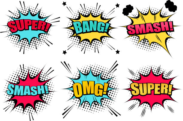 Comic speech bubbles collection Comic speech bubbles collection with colorful clouds Super Smash Bang OMG wordings star halftone and sound humor effects. Vector illustration demolished stock illustrations