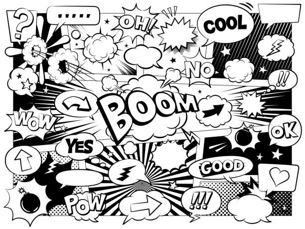 bildbanksillustrationer, clip art samt tecknat material och ikoner med komiska tal bubblor & designelement - serier