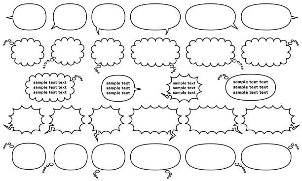 만화 연설 거품 을 쓰기 수평으로 만든 복합 모양 - 만 라인 드로잉 - 이야기와 생각과 울음 - 샘플 텍스트 stock illustrations