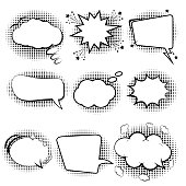 Comic speech bubbles. Set retro of cartoon, speech sketch. Empty dialog Clouds. Sketch black and white. Vintage message on a white background. Vector Illustration