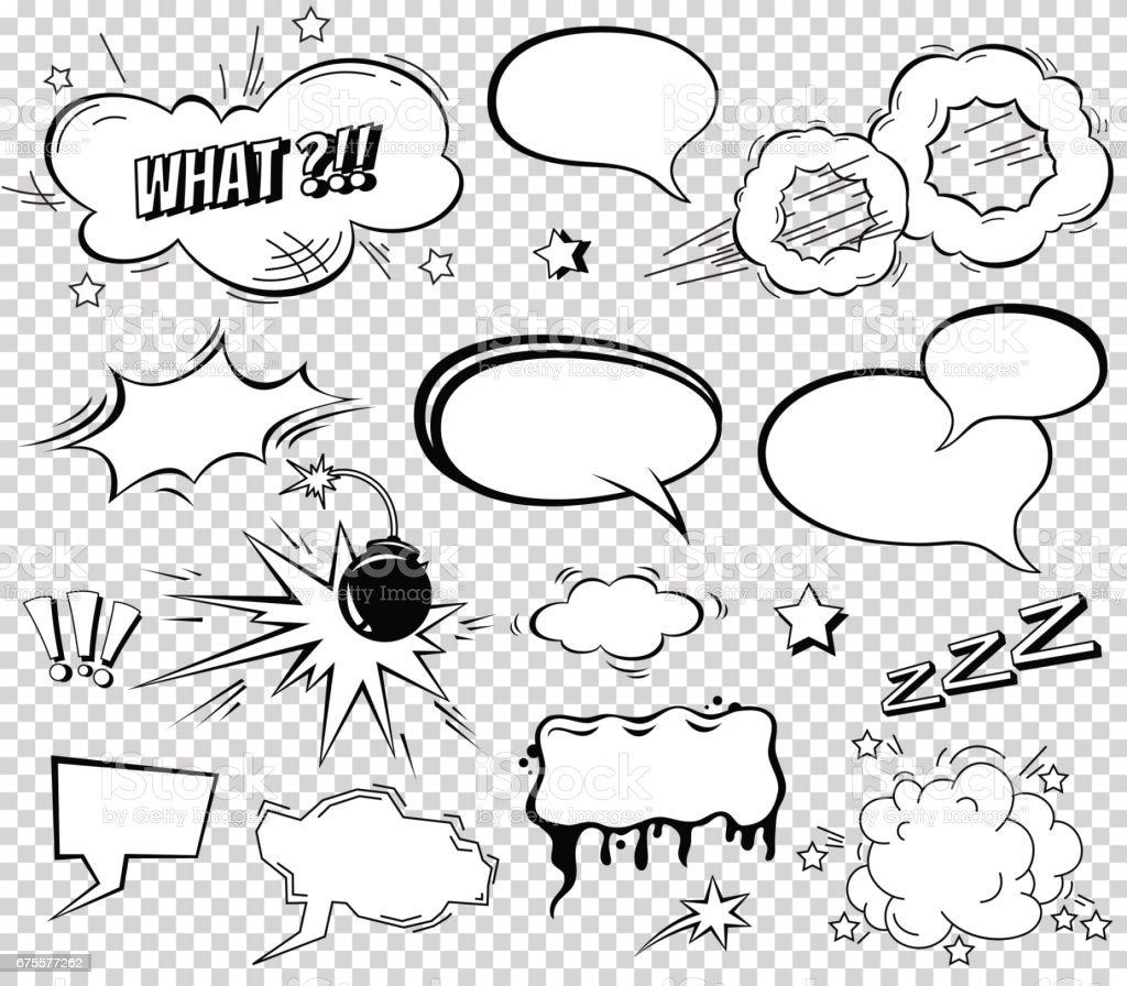 Comicsprechblasen Satz Textsoundeffektdesign Für Hintergrund ...