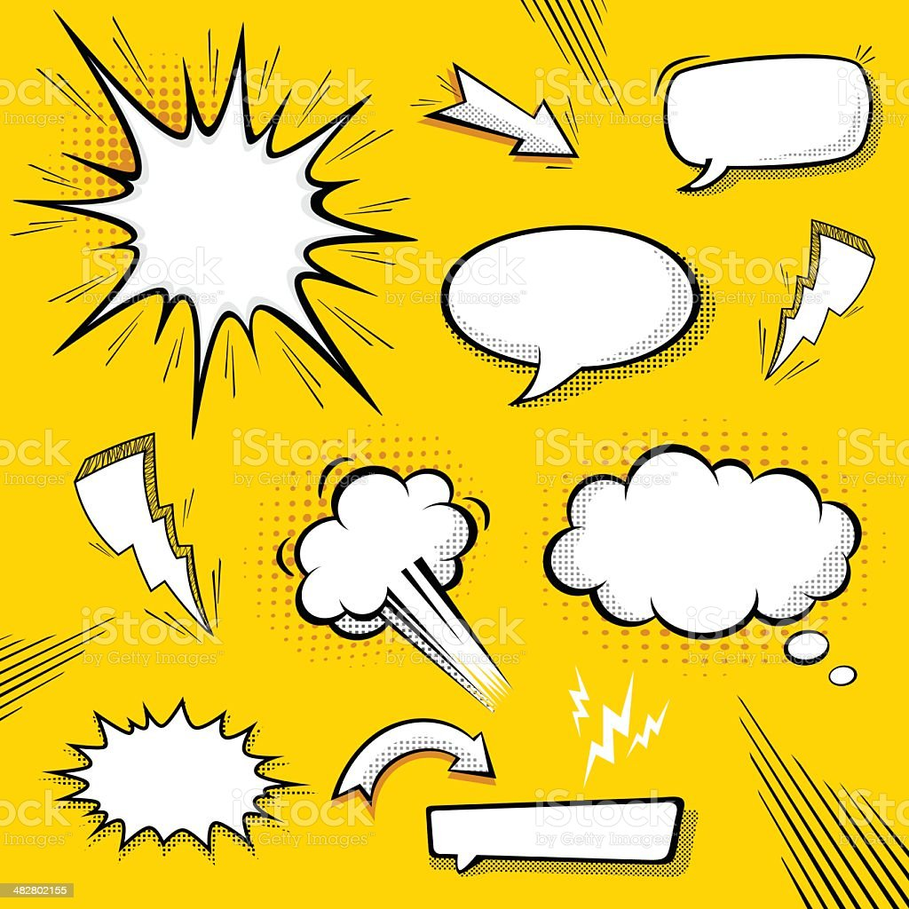 Comic Speech Bubbles vector art illustration