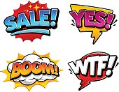 Retro comic speech bubbles with expression tags Sale, Yes, Boom and Wtf. Bright dynamic pop art design elements. Vector illustration.