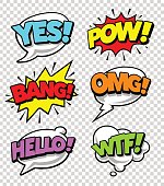 Comic speech bubbles with expression tags and sound effects. Bright dynamic pop art design elements on transparency background. Vector illustration.