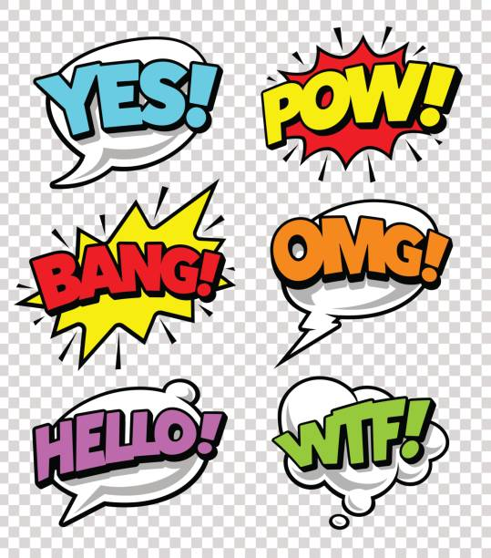 Comic Speech Bubbles Comic speech bubbles with expression tags and sound effects. Bright dynamic pop art design elements on transparency background. Vector illustration. bangs stock illustrations