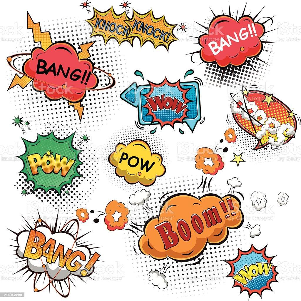 Comic speech bubbles vector vector art illustration