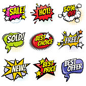 Comic speech bubbles with promo words. Discount, sale and shopping cartoon banners vector set. Discount label and best offer illustration