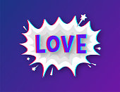 istock Comic speech bubbles with text Love. Glitch icon. Symbol, sticker tag, special offer label, advertising badge. Vector stock illustration. 1339869021