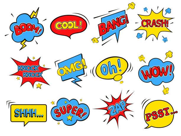 illustrations, cliparts, dessins animés et icônes de bulles de bandes dessinées. wow. super. psst. omg! cool! boom! crash! zap! oh! bang! toc-toc! shhh...  illustration vectorielle en style pop art - super héros