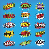 istock Comic speech clouds with sound effects 695387262