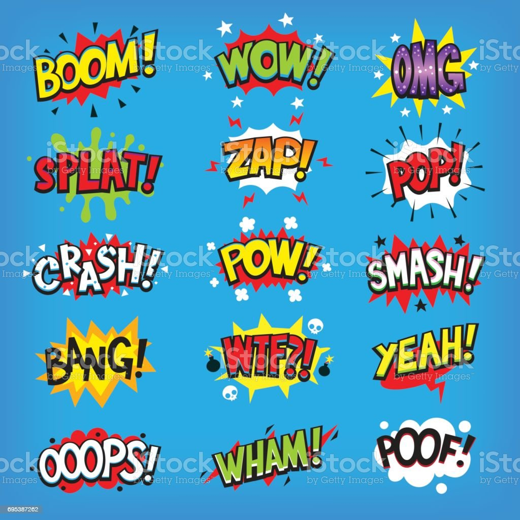 Comic speech clouds with sound effects vector art illustration