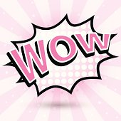 Comic Speech pink Bubble, wow, Vector illustration