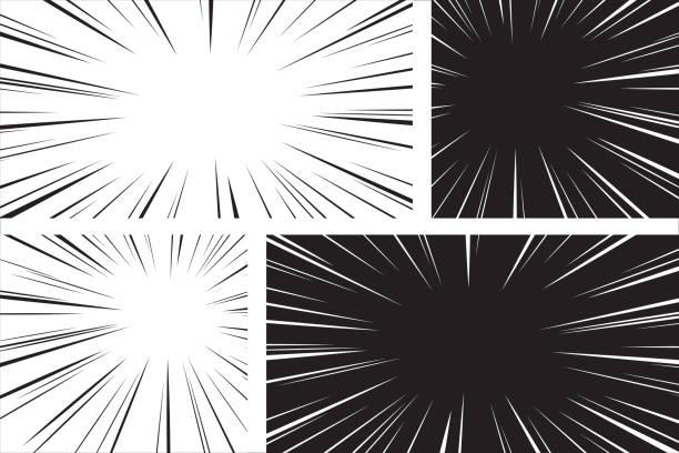komiczny zestaw promieniowy prędkości - efekty fotograficzne stock illustrations
