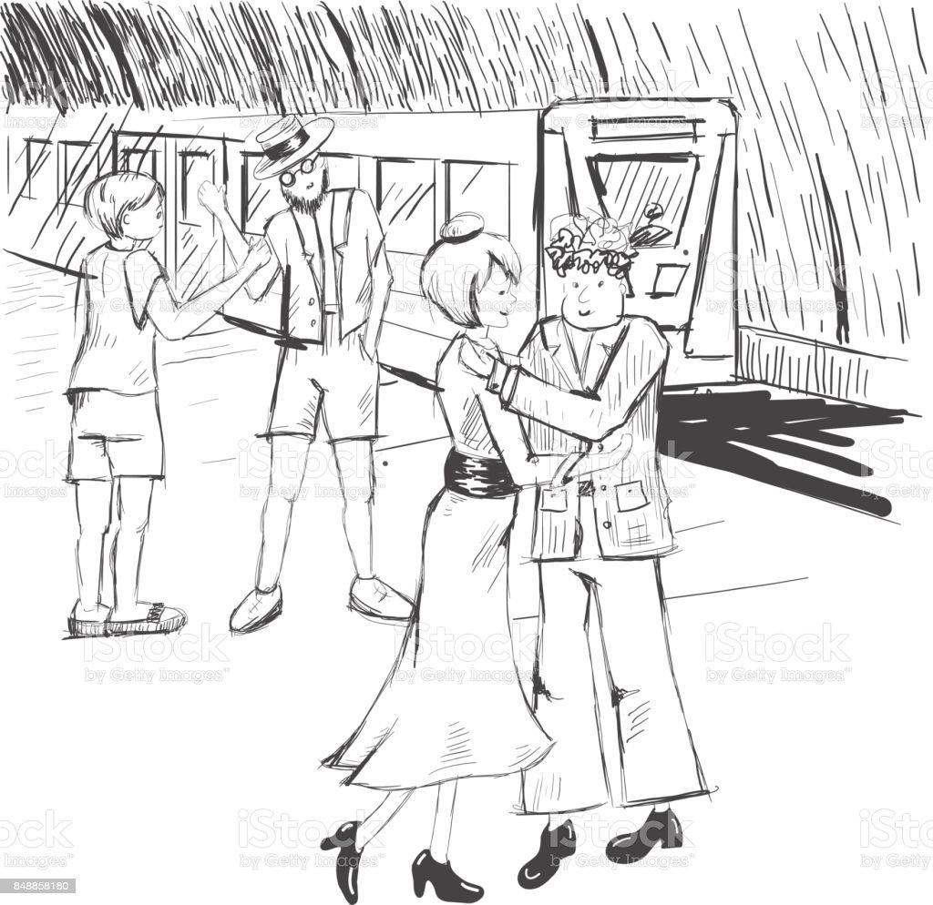 漫画人々 は地下鉄でさよならを言います電車女性は男を抱いています