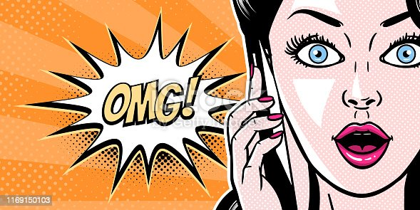 Comic style beautiful young woman talking on the mobile phone, surprised expression, open mouth, pop art girl banner, vector illustration