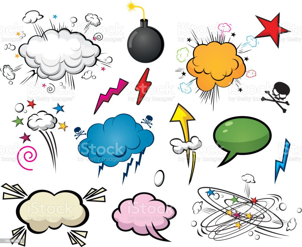 Comic style cloud and speech bubbles royalty-free stock vector art
