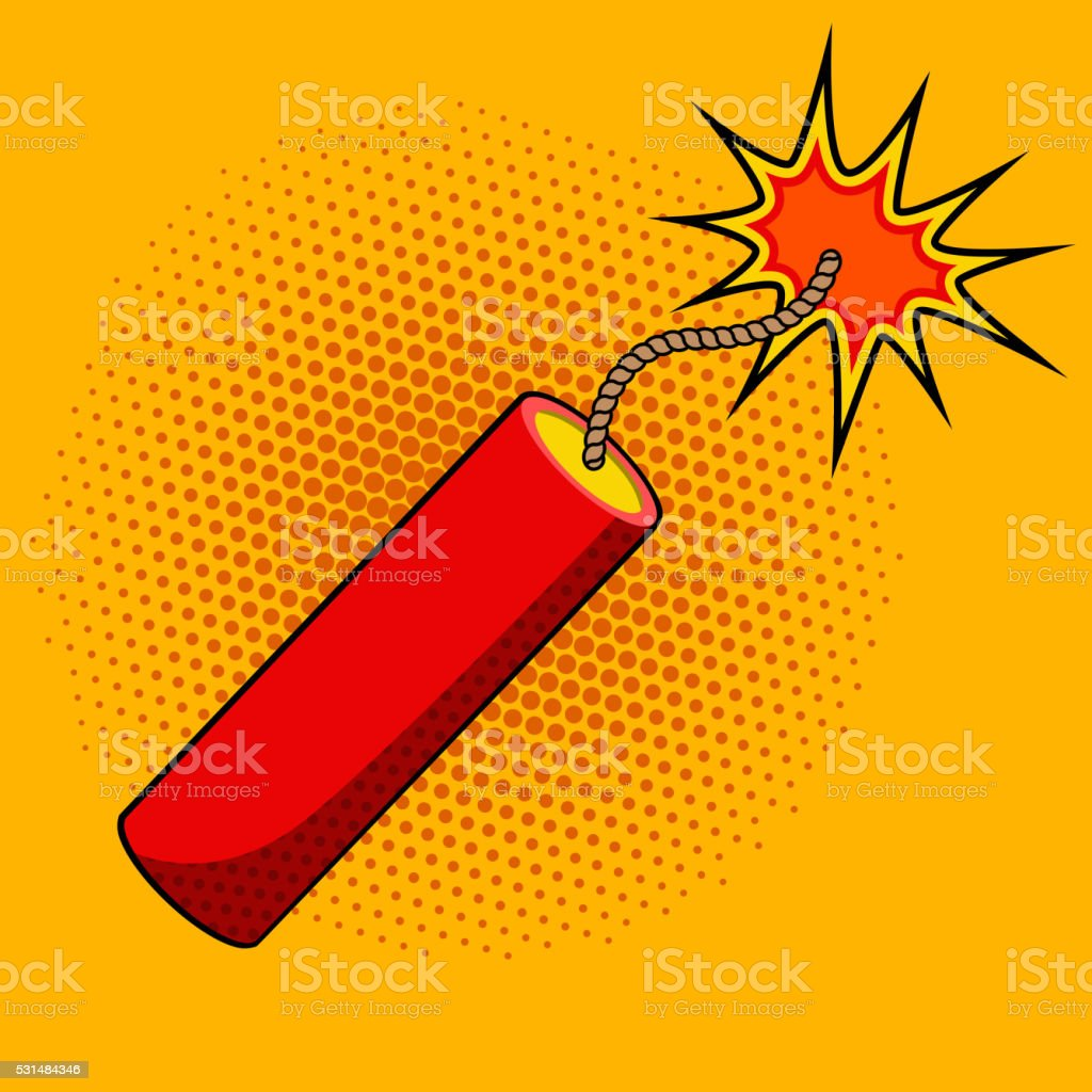 Comic style dynamite on colorful background. Cartoon style dynam vector art illustration