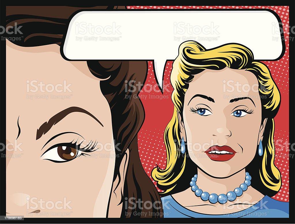 Comic Style Gossiping Women royalty-free stock vector art
