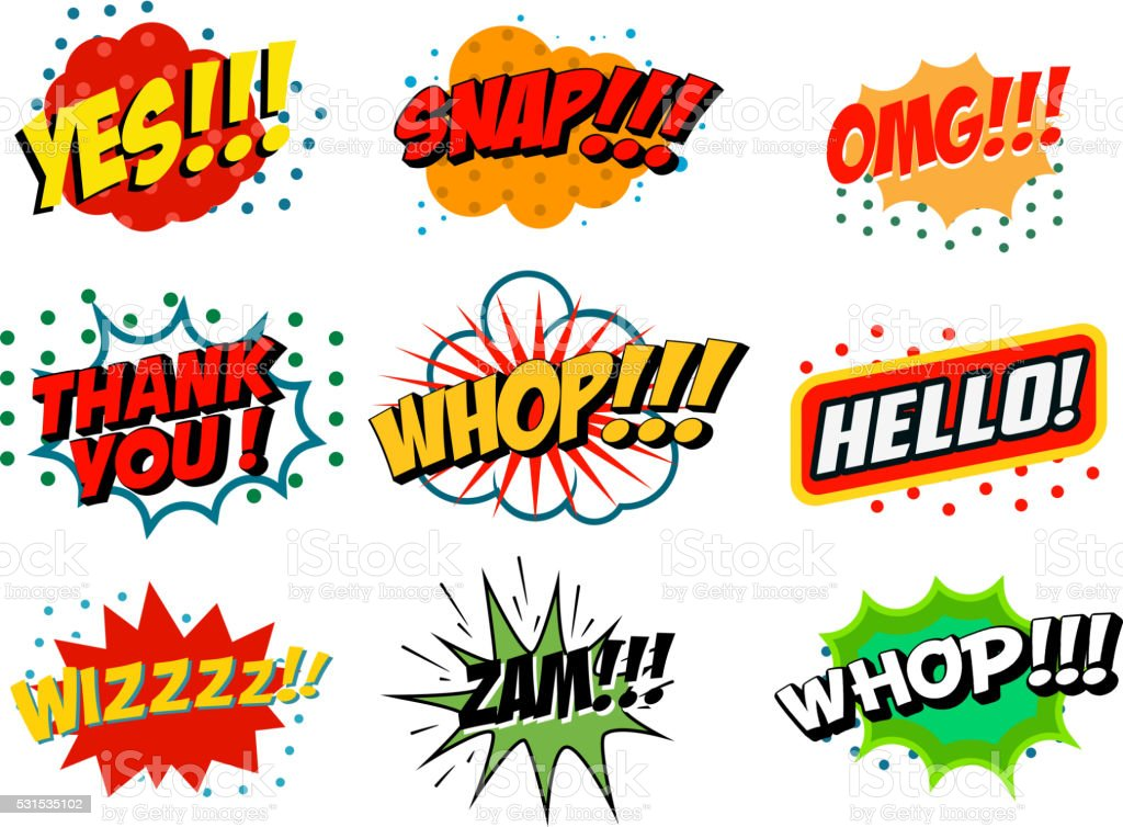 Comic style phrases isolated on white background. vector art illustration