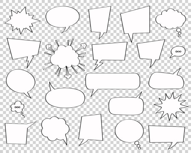 Comic style speech bubbles set on transparent background. Set of comic speech bubbles. Vector Illustration and graphic talk clouds. Cartoon fun design, art thought chat sign. speech bubble stock illustrations