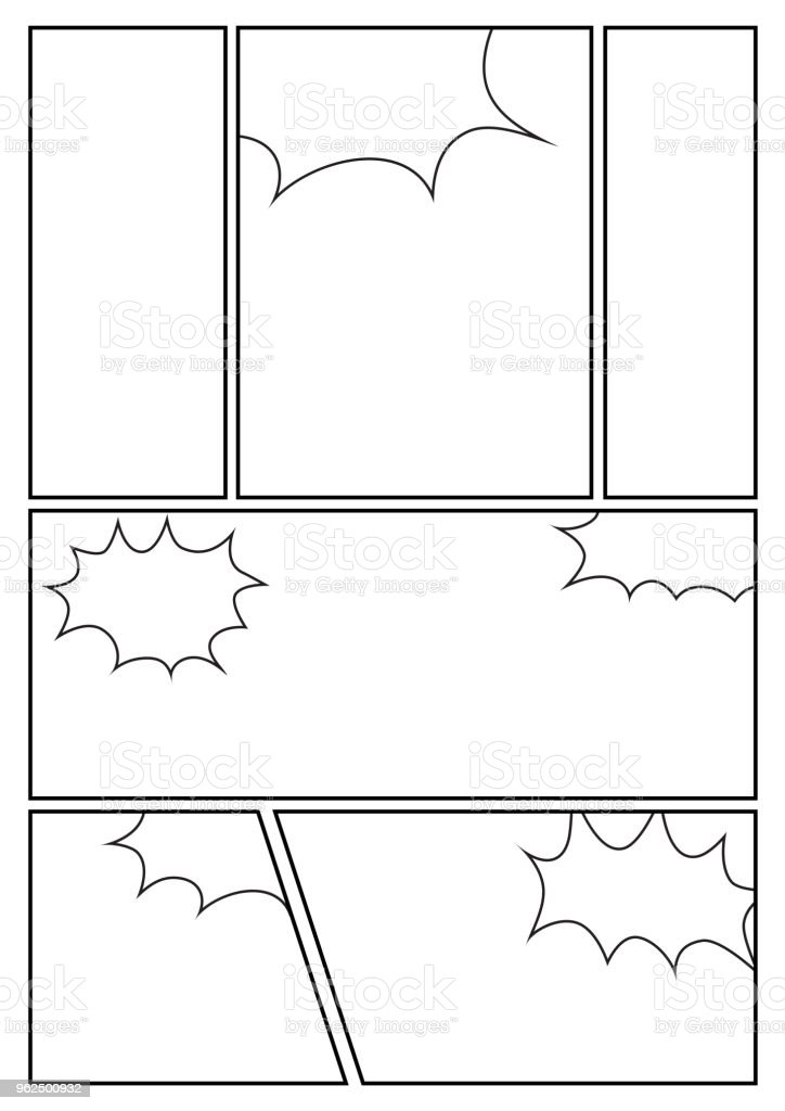 comic styles layout with 6 grids - Royalty-free Angle stock vector