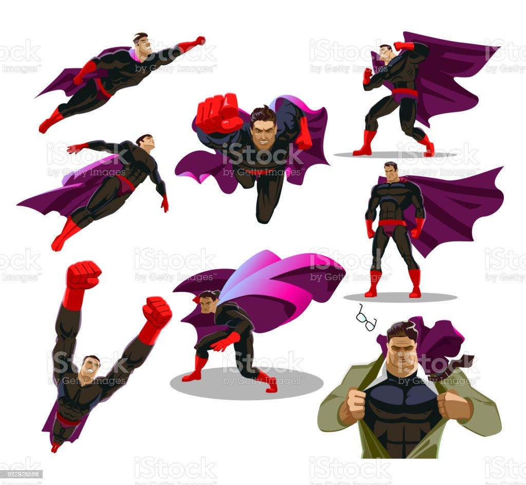 さまざまなポーズでコミックのスーパー ヒーロー アクション。男性スーパー ヒーローのベクトルの漫画のキャラクター。セットまたは英雄的な漫画のキャラクターのコレクション。 ベクターアートイラスト