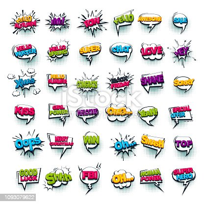 Comic text WOW, boom, bang collection sound effects pop art style. Set vector speech bubble with word phrase cartoon expression illustration. Comics book colored background template.